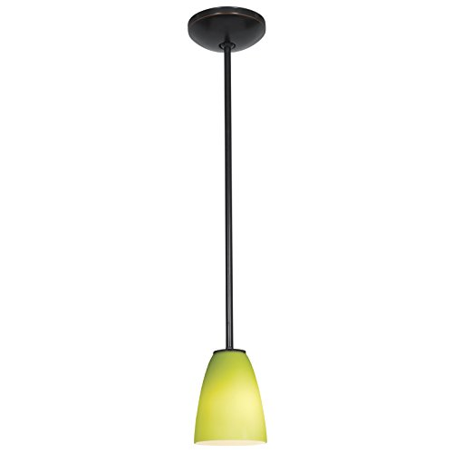 Flute - E26 LED Rod Pendant - Oil Rubbed Bronze Finish - Lime Green Glass Shade