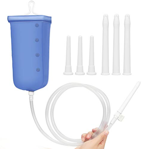 Xocity Premium Einlauf Darmreinigung set(2000ML), Klistier Set mit 6 Austauschbare Düsen & Einstellbare Wassermenge, Analdusche Intimdusche & Vaginaldusche Reise-Irrigator-Set für Männer/Frauen