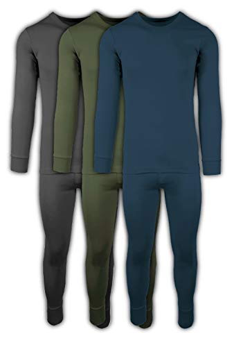 Andrew Scott Mens 2 Piece & 6 Piece Base Layer Long Sleeve + Long Pant Thermal Underwear Set (1 & 3 Pack Mix Match Options) (Large, 3 Sets / 6 Piece -Charcoal/Olive/Legion Blue)