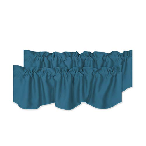 """H.VERSAILTEX 2 Panels Blackout Curtain Valances for Kitchen Windows/Living Room/Bathroom Privacy Protection Rod Pocket Decoration Scalloped Winow Valance Curtains, 52"""" W x 18"""" L, Dark Teal"""