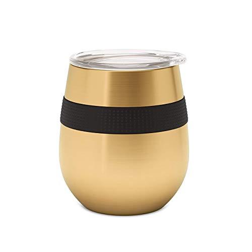 Xhwyf Taza de café Reutilizable O-8oz / 230ml Vaso de Aislamiento con Tapa en Cualquier Momento, en Cualquier Lugar del Agua a Bebidas Calientes o frías-Acero Inoxidable (Grafito)