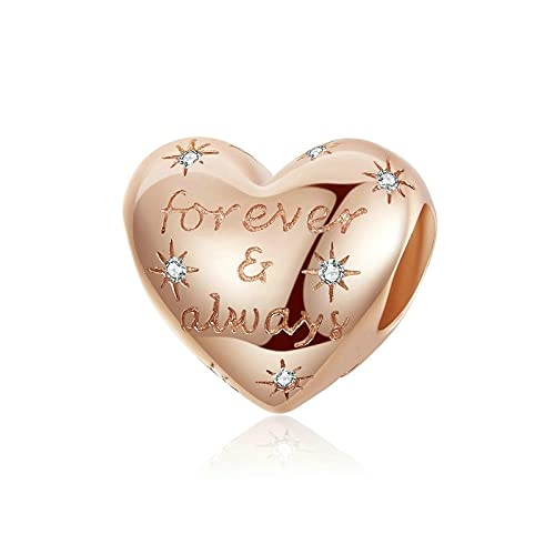 LIJIAN DIY 925 Sterling Jewelry Charm Beads Deslumbrante Forma De Corazón Ever Love Make Original Pandora Collares Pulseras Y Tobilleras Regalos para Mujeres