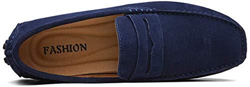AARDIMI Herren Mokassins Bootsschuhe Wildleder Loafers Schuhe Flache Fahren Halbschuhe Beiläufig Slippers Hausschuh (44 EU, Z-Blau)