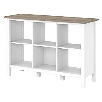 Bush Furniture Mayfield 6 Cube Bookcase in Pure White and Shiplap Gray