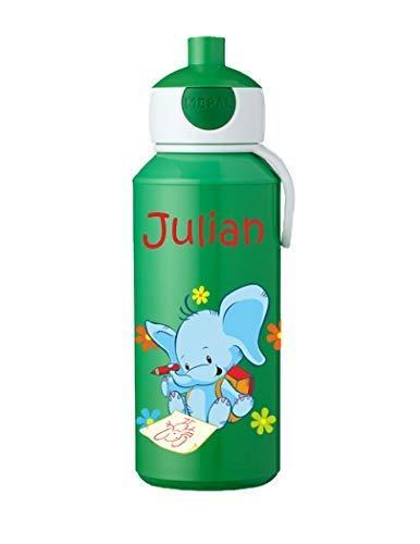 Mein Zwergenland Trinkflasche Mepal Campus Pop-up mit Namen Grün, Elefant