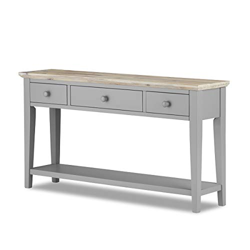 Florence Console Table Dove Grey. VERY STURDY console table with 3 drawers, shelf, solid sides and back. Beautiful limed top finish.