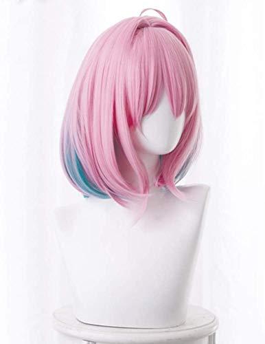 Peluca de pelo lacio Bob corto Anime Cosplay Pelucas rosas y azules Pelucas sintticas resistentes al calor para mujeres Nias Peluca de fiesta de Navidad de Halloween
