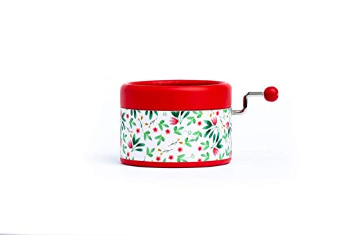 Hand Cranked red decorated with flowers and with the music from the movie The beauty and the beast