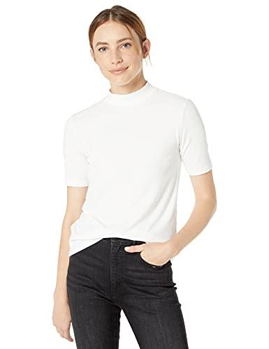 Marchio Amazon - Joanna T-shirt a costine, accollata, maniche corte di The Drop