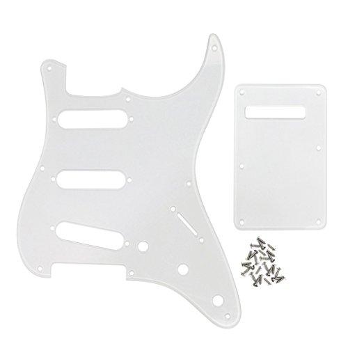 FLEOR SSS 8 Hole Vintage Strat Pickguard Guitar Back Plate with Screw for Vintage Strat Style Guitar Parts, 1Ply Transparent Clear