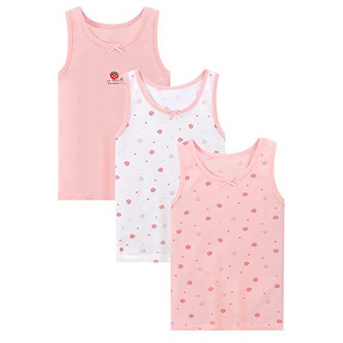 ABClothing Mädchen-Tank-Tops, Baumwolle, super weich, Motiv: Schmetterling, Hase, Erdbeere, 3er-Pack Gr. 5-6 Jahre, erdbeere