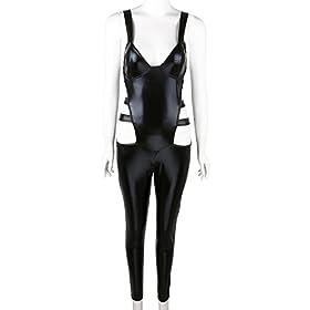 iEFiEL Women Shiny PVC Clubwear Wetlook Bodysuit Zentai Catsuit Jumpsuit Costume Black