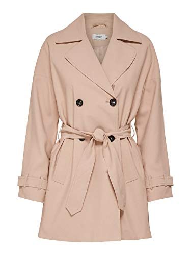 ONLY Damen onlEMILIA Short Trenchcoat CC OTW Mantel, Rosa (Rose Smoke Rose Smoke), 34 (Herstellergröße: XS)