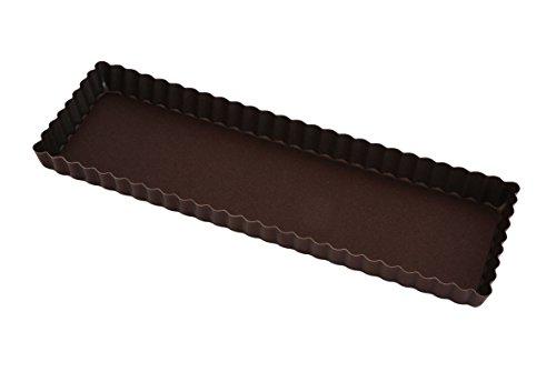 Gobel 225310 Moule à Tarte Maison Rectangulaire Cannelé Fond Fixe Anti-Adhérent 35*11 cm