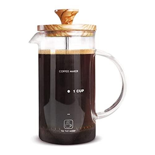 HKJZ SFLRW Cafetera (800 ml) - 304 de Acero Inoxidable Duradero, Resistente al Calor Borosilicato de Vidrio de Prensa de café