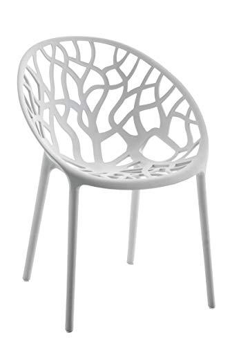 CLP Gartenstuhl Hope aus Kunststoff I Wetterbeständiger Stapelstuhl mit Einer max. Belastbarkeit von 150 kg I erhältlich, Farbe:hellgrau
