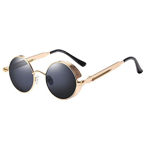 MLXG - Gafas de sol redondas de metal para hombre y mujer, estilo retro vintage, gafas de sol Uv400 (oro + negro)