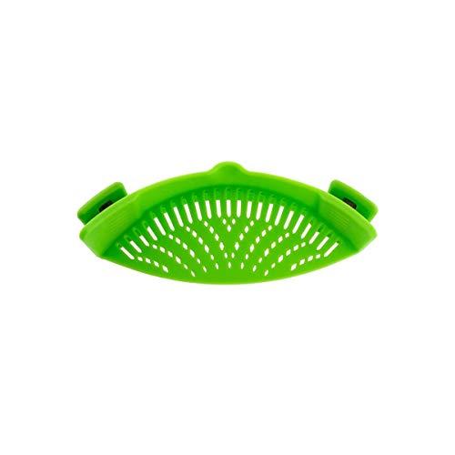 iNeibo Abtropfsieb Abgießhilfe mit 2 Klemmen aus lebensmittelechtem Silikon für Töpfe, Pfannen und Schüsseln. Grün