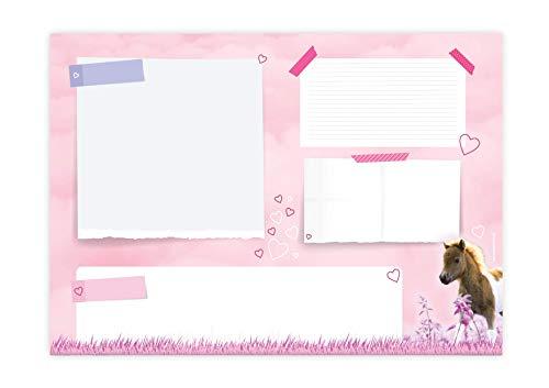 Friendly Fox Pony Schreibtischunterlage Papier - XXL Notizblock - A2 Block aus Papier zum Abreißen - Mal- und Schreibunterlage Pferde Schreibtischunterlage Mädchen Kinder