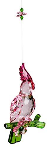 dekojohnson luxe raamdecoratie acryl hanger-cacadu vensterversiering papegaai hangdecoratie lentedecoratie bont acryl roze groen 25cm zonnevanger