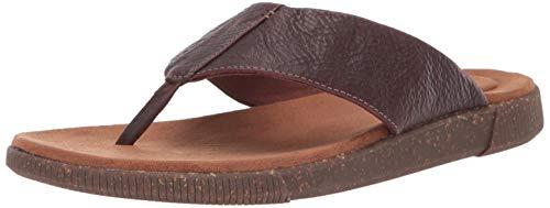 Clarks Men's Vine Oak Flip-Flop, Mahogany Leather, 100 M US
