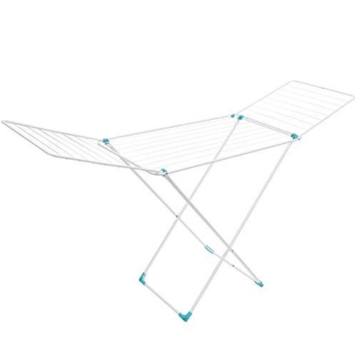 Nika Wäscheständer mit Flügeln, 20m Trockenlänge, Weiß, Solid standfester Standtrockner, platzsparender Wäschetrockner