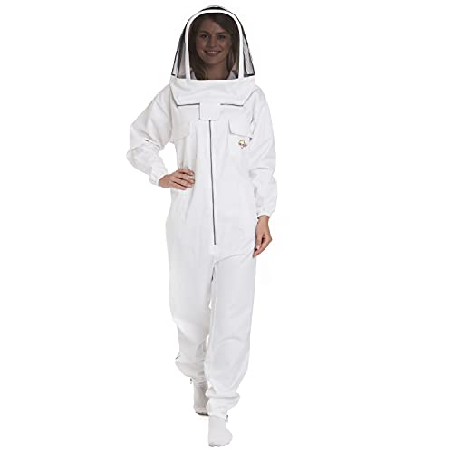 Natural Apiary - Apiarist Beekeeping Suit - White - (All-in-One) - Fencing Veil - Total Protection for Professional & Beginner Beekeepers - X Large