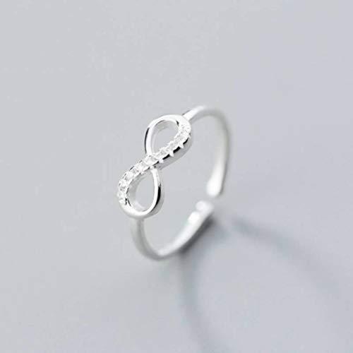 WOZUIMEI S925 Anillos de Plata Anillo de Diamante Dulce Estilo Bosque para Mujer Forma Lineal Personalizada Infinito 8 Anillo de Dedo Índice de Apertura JoyeríaAnillo de plata S925, apertura ajustad
