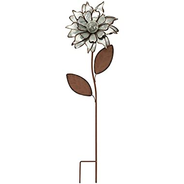 CEDAR HOME Galvanized Floral Garden Stake Outdoor Glow in Dark Water Proof Metal Stick Art Ornament Decor for Lawn Yard Patio, 12  W x 3.5  D x 35  H, Rose