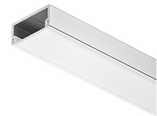 Gedotec LED-Aluminium-Profil flach Unterbau & Einbau-Profil 2500 mm Profilleiste eckig für Möbel-Regale & LED-Streifen | Höhe 8,5 mm | Streuscheibe milchig | 1 Stück - Licht-Schiene Alu silber matt