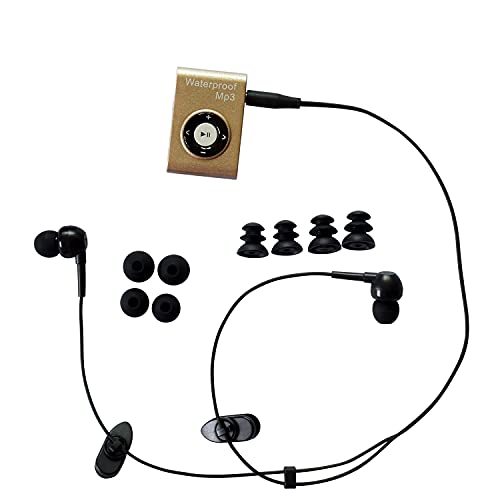 waterproof mp3 players for swimmings SWMIUSK Waterproof MP3 Player Built-in 8GB Swimming Diving Sports with Waterproof Headphones Players Support FM Radio and Shuffle Feature Perfect Swimming Companion (Gold)