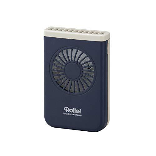 Rollei ハンズフリーポケットファン RHFP-NV 820280 充電式 3段階調節 卓上対応スタンド LEDライト付き ネイビー