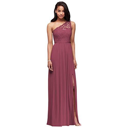 Long One Shoulder Lace Bridesmaid Dress Style F17063, Chianti, 10
