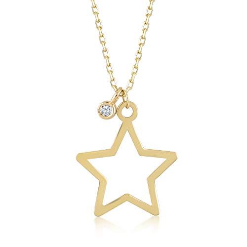 Collar para mujer de oro amarillo 585 de 14 quilates, con colgante de estrella de 0,01 quilates, longitud de la cadena de 45 cm