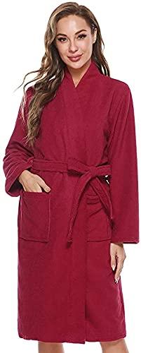 Albornoz de mujer de manga larga de franela de una pieza, ajustable con cinturón envolvente, con bolsa para ahorrar espacio Vino rojo S