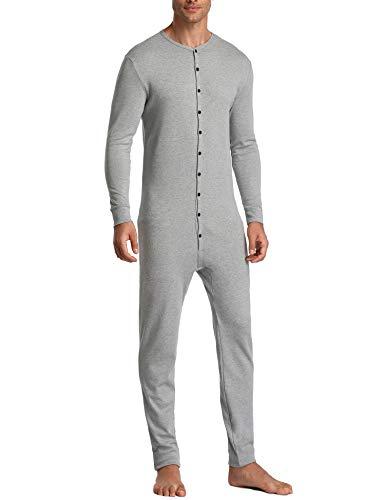 Lusofie Mens Thermal Underwear Union Suit Base Layer Henley Adult Onesie (Grey, S)
