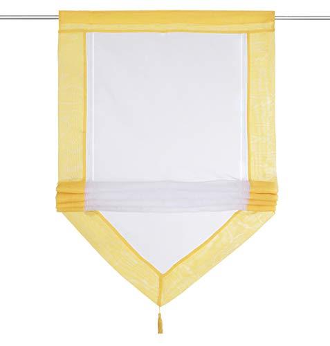 LiYa Raffrollo mit Quaste Dreieck Raffgardine Voile Transparent Tunnelzug Vorhang (BxH 80x140cm, Gelb)