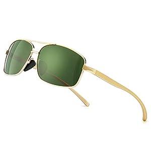 SUNGAIT Gafas de sol Hombre Polarizadas Retro Rectangulares metal Marc Oro/verde 2458