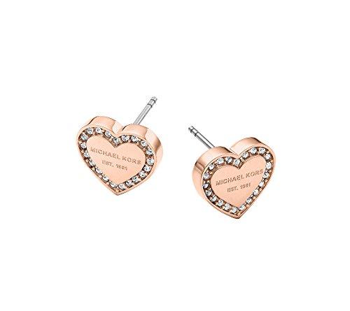Michael Kors MK Logo Heart Rose Goldtone Post Earrings
