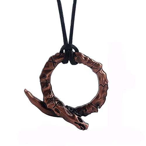 YioKpro Juego God of War 4 Collar Vintage Serpiente Logo Colgante de Color Rojo para Hombre Coche Mujer Bolsa Regalo de joyería