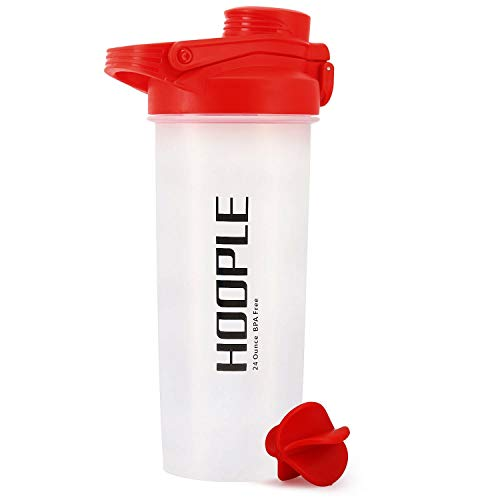 HOOPLE Protein Shaker Bottle, Gym Sports Water Bottle, Smoothie Mixer Cups, BPA Free, Flip Lid with Powerful Blending Ball Powder Mixing Bottle, 24-Ounce (Red)