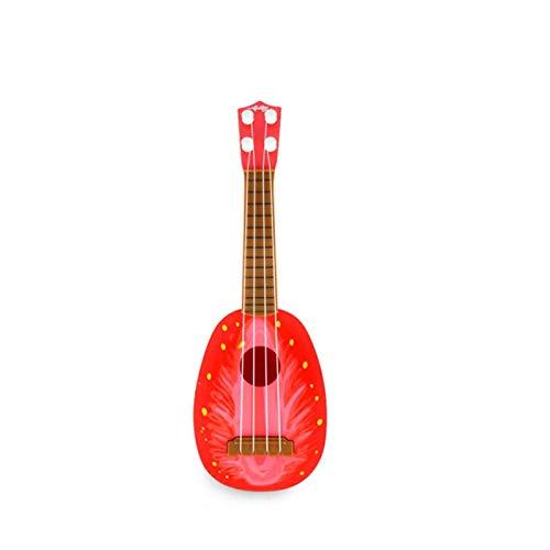 YSJJWDV Ukelele sensorial audiencia emocional puede jugar simulación ukelele mini fruta guitarra juguete niño educación temprana música juguete instrumento (color: fresa grande)