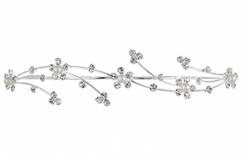 手段気になる時計回りElegant Flower Girl Bridesmaid Tiara Hair Comb - Silver Plated Faux Pearls T160 [並行輸入品]