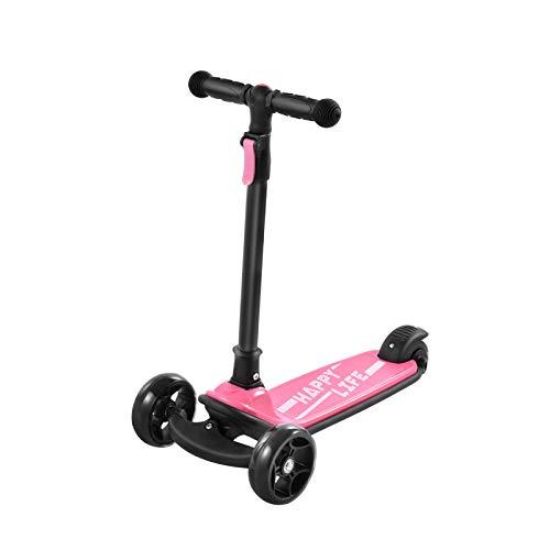OWEM Scooter Simple y Moderno Scooter de Juguete para Montar para niños Plegable Estructura de Altura Ajustable Estable para Juegos al Aire Libre Deportes niños Parque,Rosado