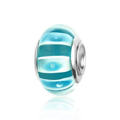 MiniJewelry Women Green Blue Shell Glass Murano Charm for Bracelets Spacer Bead fit Pandora Charms Bracelets, Green Blue