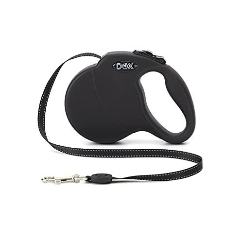 DDOXX Correa Perro Enrollable Reflectante Tamaños de Correas para Perros |Perros Pequeños y Grandes | Correa Perro Extensible | Accesorios para Perros | Negro S | 4m | hasta 10 kg