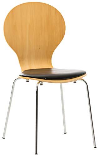 CLP Stapelstuhl Diego mit Kunstledersitz und stabilem Metallgestell I Platzsparender Konferenzstuhl mit ergonomisch geformter Sitzfläche, Farbe:Natura/schwarz