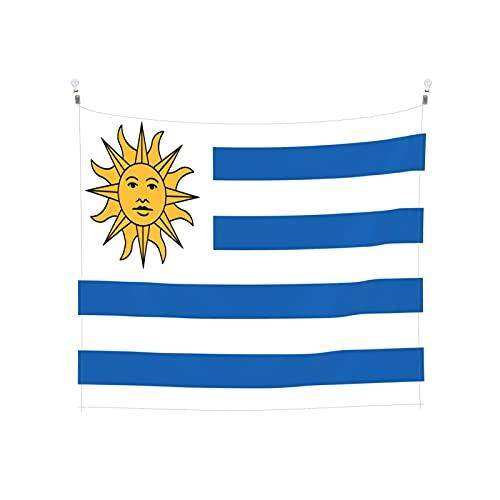 Uruguay-Flagge Tapisserie Wandbehang Tarot Boho Beliebte Mystic Trippy Yoga Hippie Wandteppiche für Wohnzimmer Schlafzimmer Wohnheim Heimdekor Schwarz & Weiß Stranddecke