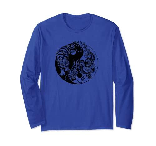 Yin Yang Drago Tigre Maglia a Manica