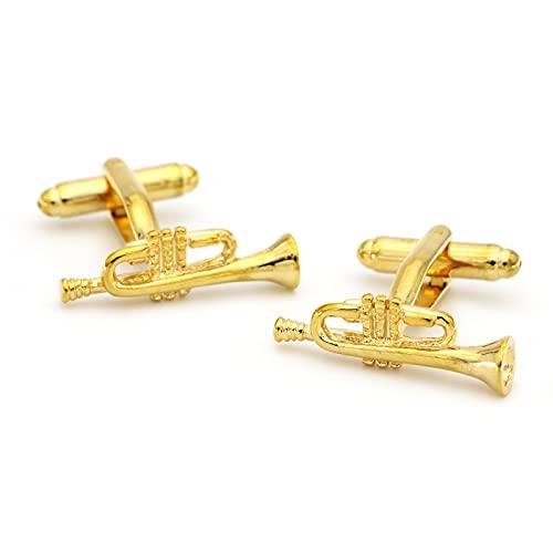 LWCOTTAGE Gemelos para Hombre - Novedad Música Gemelos Horn Diseño Golden Color Calidad Cuff Links Personalidad Accesorios De Camisa, Cuerno, Un Par